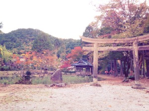 大歳神社から移築された「元禄鳥居」と池泉式庭園