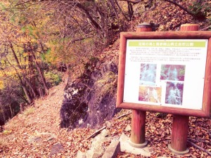 看板左手の道から歩いて滝へ向かいます。